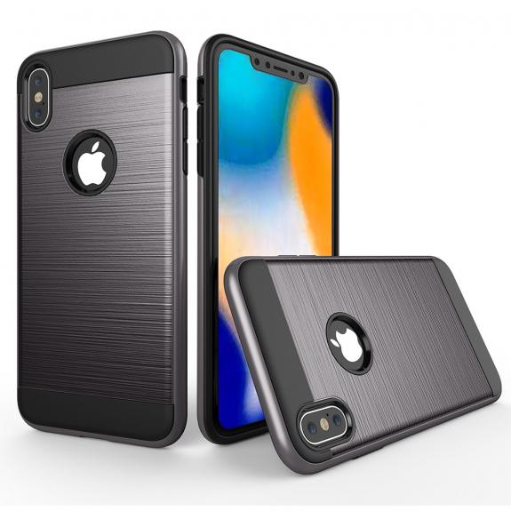 AppleKing odolný kryt na iPhone XS Max - broušená textura - šedá - možnost vrátit zboží ZDARMA do 30ti dní