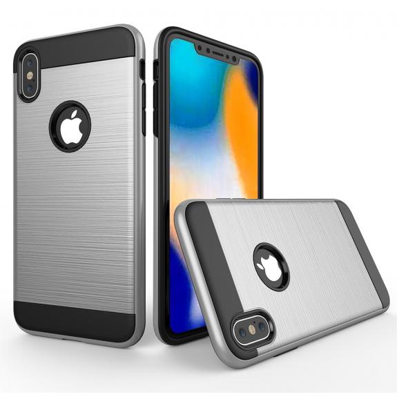 AppleKing odolný kryt na iPhone XS Max - broušená textura - stříbrná - možnost vrátit zboží ZDARMA do 30ti dní