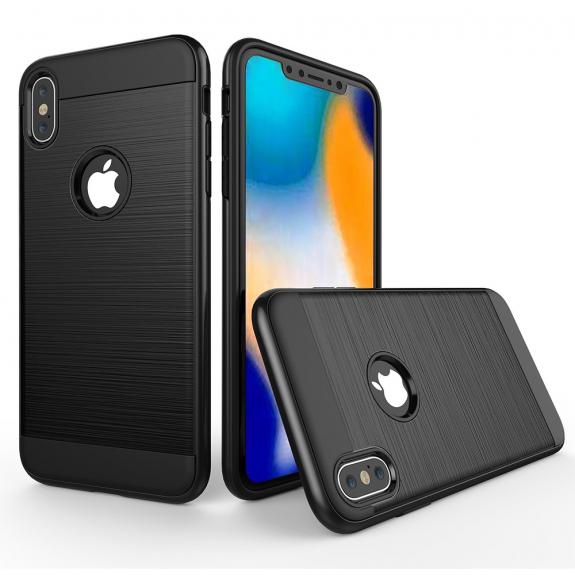 AppleKing odolný kryt na iPhone XS Max - broušená textura - černý - možnost vrátit zboží ZDARMA do 30ti dní