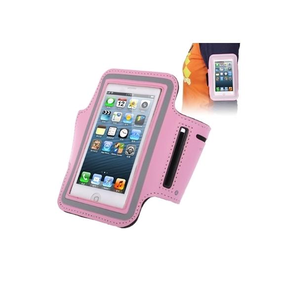 AppleKing sportovní pouzdro na ruku s průchodem na sluchátka pro Apple iPhone 5 / 5S / SE / 4 / 4S - růžové - možnost vrátit zboží ZDARMA do 30ti dní