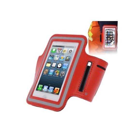 AppleKing sportovní pouzdro na ruku s průchodem na sluchátka pro Apple iPhone 5 / 5S / SE / 4 / 4S - červené - možnost vrátit zboží ZDARMA do 30ti dní