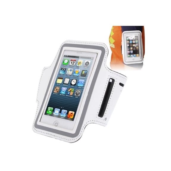 AppleKing sportovní pouzdro na ruku s průchodem na sluchátka pro Apple iPhone 5 / 5S / SE / 4 / 4S - bílé - možnost vrátit zboží ZDARMA do 30ti dní