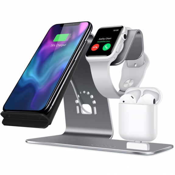 Bestand stojánek pro rychlé bezdrátové nabíjení iPhone / Watch / AirPods - šedý - možnost vrátit zboží ZDARMA do 30ti dní