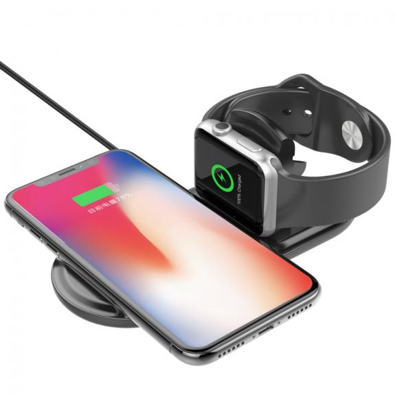 AppleKing nabíjecí podložka pro iPhone a Watch - černá - možnost vrátit zboží ZDARMA do 30ti dní