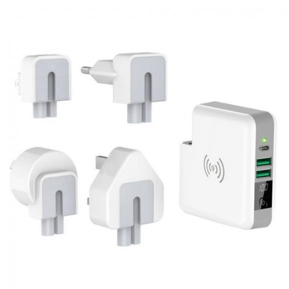 AppleKing nabíječka / powerbanka 6700mAh s výměnnými zástrčkami (AU / UK / US / EU) a bezdrátovým na