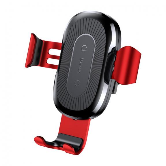 AppleKing bASEUS gravitační držák s bezdrátovým nabíjením - červený - možnost vrátit zboží ZDARMA do 30ti dní