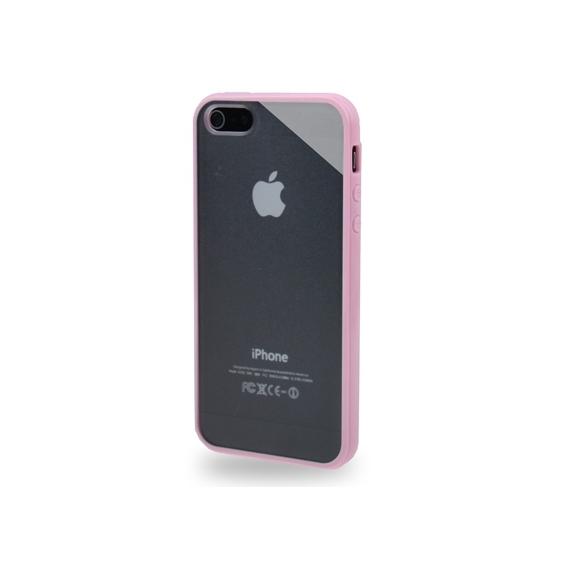 Ochranný průhledný plastový kryt s rámečkem pro iPhone 5 / 5S / SE - purpurový