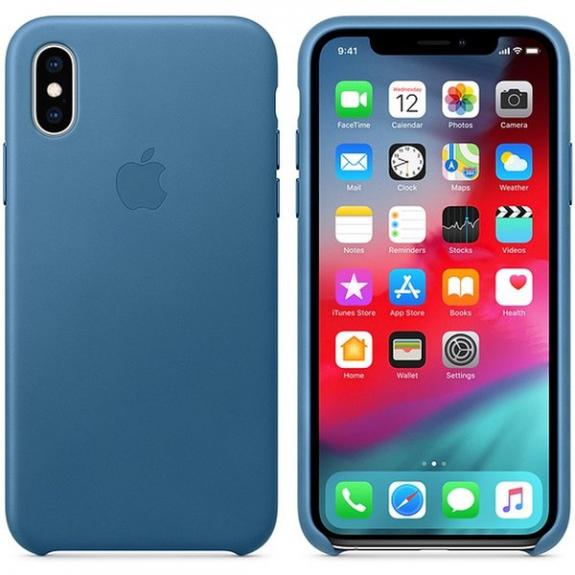 Originální Apple kožené pouzdro pro iPhone XS - modrošedá MTET2ZM/A - možnost vrátit zboží ZDARMA do 30ti dní