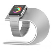 Napájecí hliníkový stojánek ve tvaru U pro Apple Watch 38 / 42mm - stříbrný
