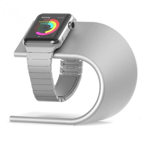 AppleKing napájecí hliníkový stojánek ve tvaru U pro Apple Watch 38 / 42mm - stříbrný - možnost vrátit zboží ZDARMA do 30ti dní