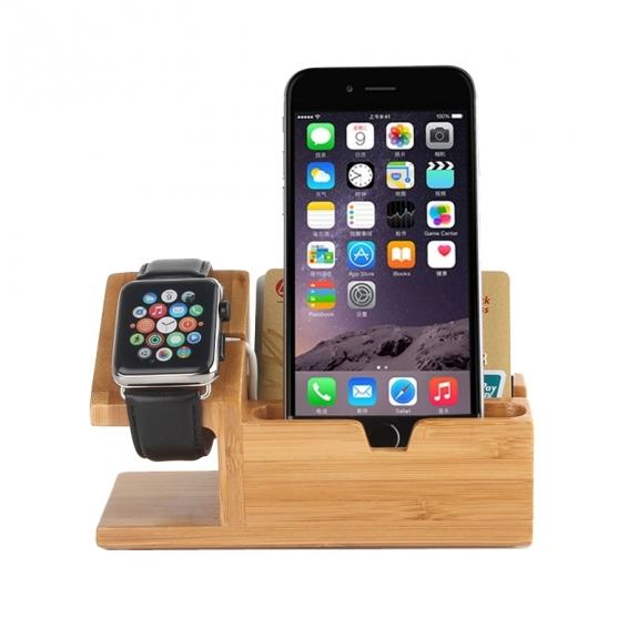 AppleKing dřevěný nabíjecí stojánek 2v1 pro Apple Watch 38mm / 42mm a iPhone 6 / 6 Plus a iPhone 5 / 5S / 5C - tmavý - možnost vrátit zboží ZDARMA do 30ti dní