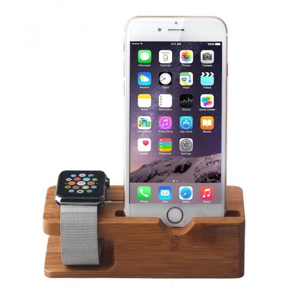 AppleKing dřevěný nabíjecí stojánek 2v1 pro Apple Watch 38mm / 42mm a iPhone 6 / 6 Plus a iPhone 5 / 5S / 5C - možnost vrátit zboží ZDARMA do 30ti dní