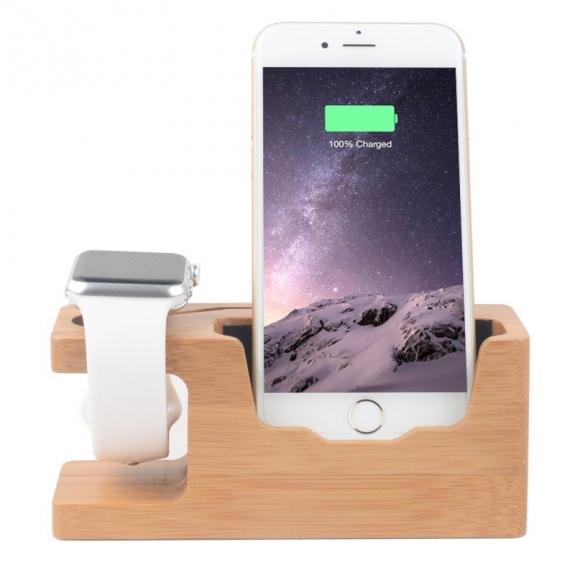 AppleKing dřevěný nabíjecí stojánek 2v1 pro Apple Watch 38mm / 42mm a iPhone 6 / 6 Plus a iPhone 5 / 5S / 5C – světlý - možnost vrátit zboží ZDARMA do 30ti dní
