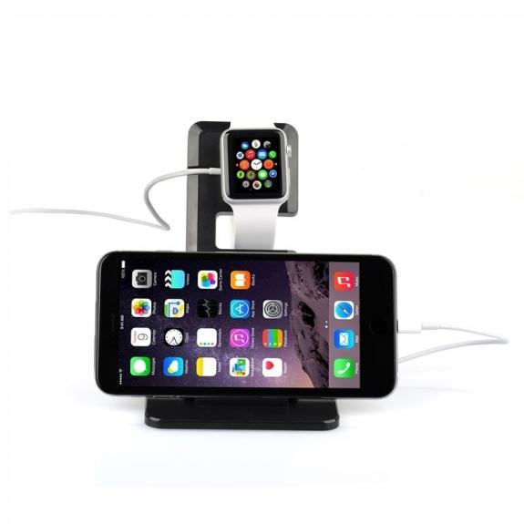 Itian nabíjecí stojánek pro Apple Watch 38mm / 42mm a iPhone 6 / 6 Plus a iPhone 5 / 5S / 5C - černý - možnost vrátit zboží ZDARMA do 30ti dní