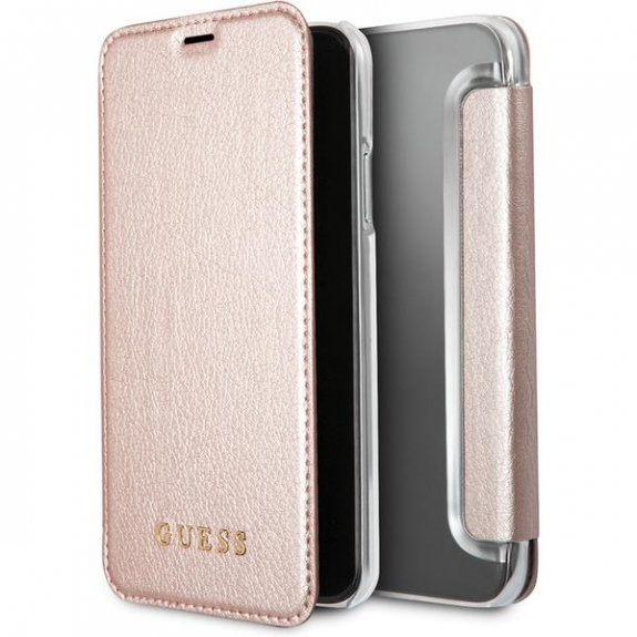 Guess Iridescent Book pouzdro iPhone pro X - růžovozlatá 3700740407844 - možnost vrátit zboží ZDARMA do 30ti dní