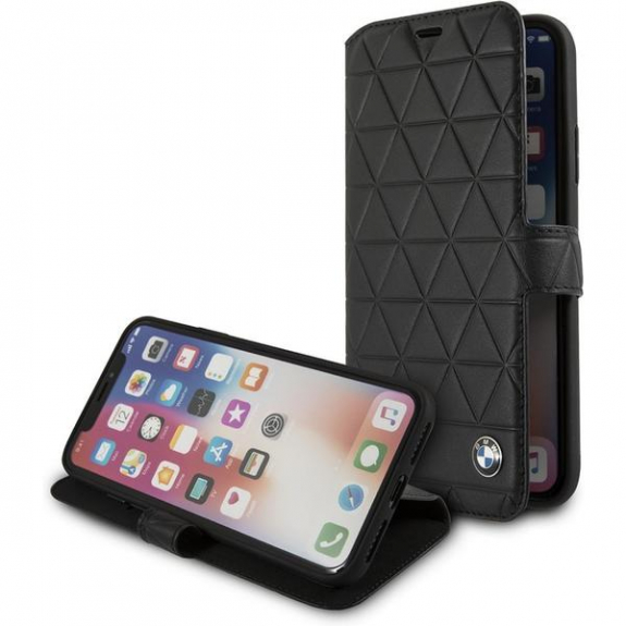 BMW Hexagon Book kožené pouzdro pro iPhone X - černá 3700740409398 - možnost vrátit zboží ZDARMA do 30ti dní