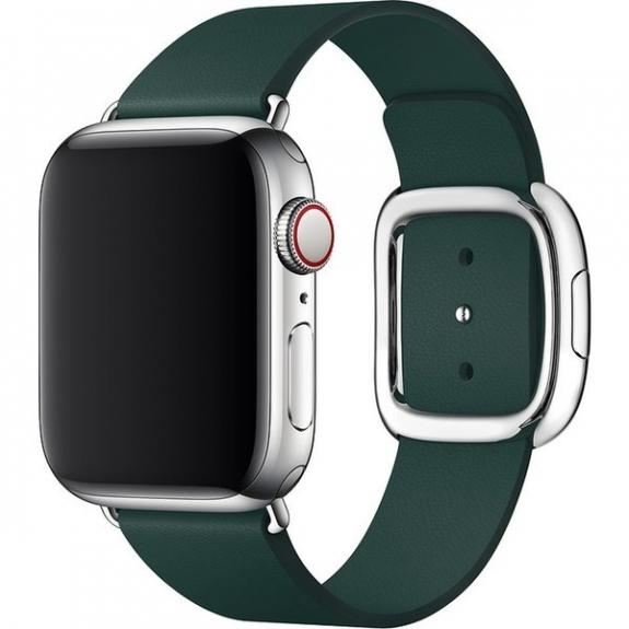 Originální kožený řemínek s moderní přezkou pro Apple Watch 40mm / 38mm - vel. L - piniově zelená MTQK2ZM/A - možnost vrátit zboží ZDARMA do 30ti dní