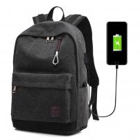 """Cestovní batoh s externím USB portem pro iPad / MacBook do 15"""" - černý"""