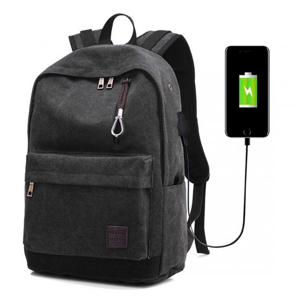 AppleKing cestovní batoh s externím USB portem - černá - možnost vrátit zboží ZDARMA do 30ti dní