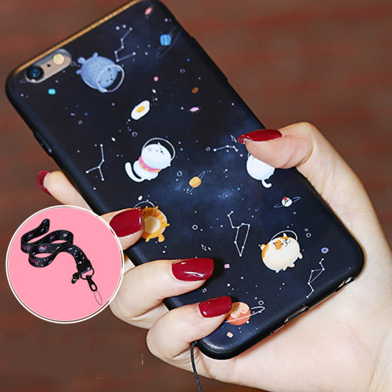 Kryt pro iPhone 6   6S s popruhem - kočky ve vesmíru - AppleKing.cz 65d431a0b24