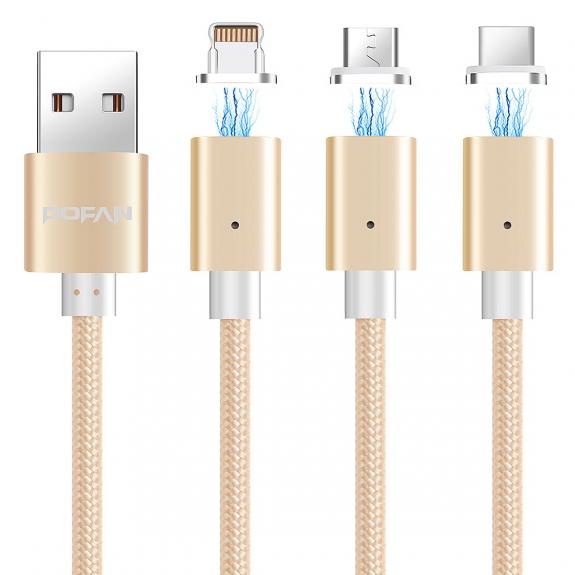 POFAN magnetický kabel s konektory micro USB / USB-C / lightning pro Apple zařízení - 1m - zlatá - možnost vrátit zboží ZDARMA do 30ti dní