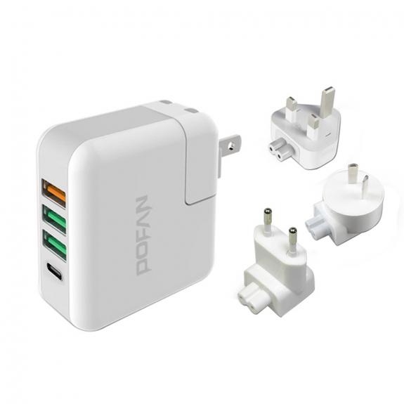 POFAN nabíječka 5V / 6A s EU / US / UK / AU zástrčkami a USB / USB-C konektory - možnost vrátit zbož