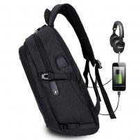 Studentský batoh s externím USB a jack portem - černá
