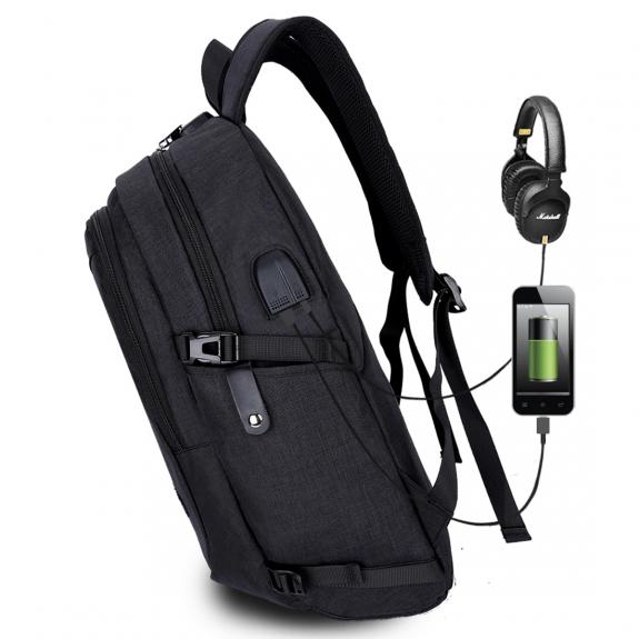 AppleKing studentský batoh s externím USB a jack portem - černá - možnost vrátit zboží ZDARMA do 30ti dní