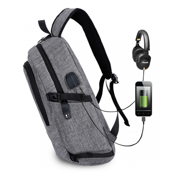 AppleKing studentský batoh s externím USB a jack portem - šedá - možnost vrátit zboží ZDARMA do 30ti dní