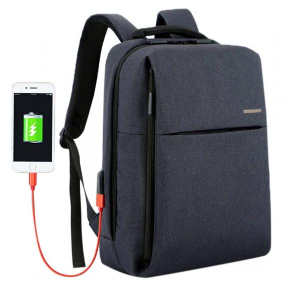 Shinlee multifunkční batoh s externím USB a jack portem - tmavě modrý - možnost vrátit zboží ZDARMA do 30ti dní