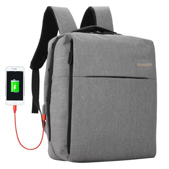 Shinlee multifunkční batoh s externím USB a jack portem - šedý - možnost vrátit zboží ZDARMA do 30ti dní
