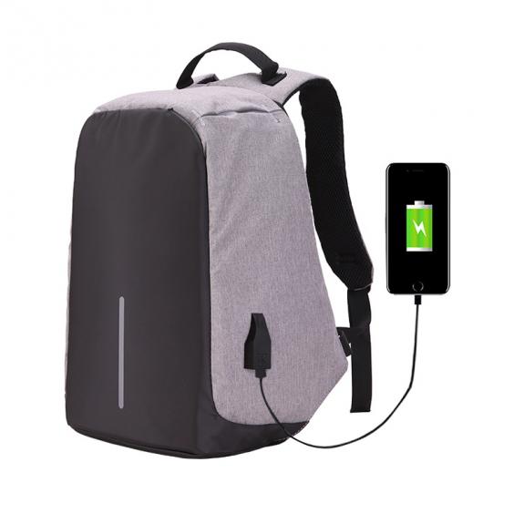 AppleKing bezpečnostní batoh s externím USB portem - šedý - možnost vrátit zboží ZDARMA do 30ti dní