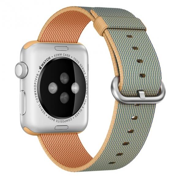 AppleKing tkaný nylonový řemínek pro Apple Watch 42mm - modrozlatý - možnost vrátit zboží ZDARMA do 30ti dní