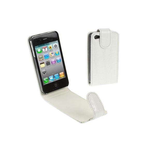 AppleKing vyklápěcí pouzdro pro iPhone 4 / 4S ve stylu krokodýlí kůže - bílé - možnost vrátit zboží ZDARMA do 30ti dní