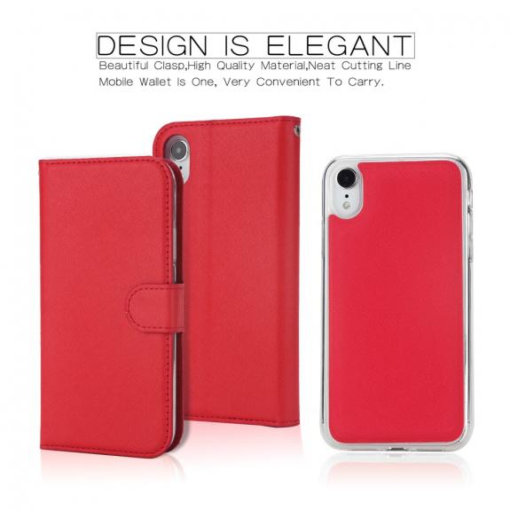 AppleKing flipové odnímatelné pouzdro pro iPhone XR - červené - možnost vrátit zboží ZDARMA do 30ti dní