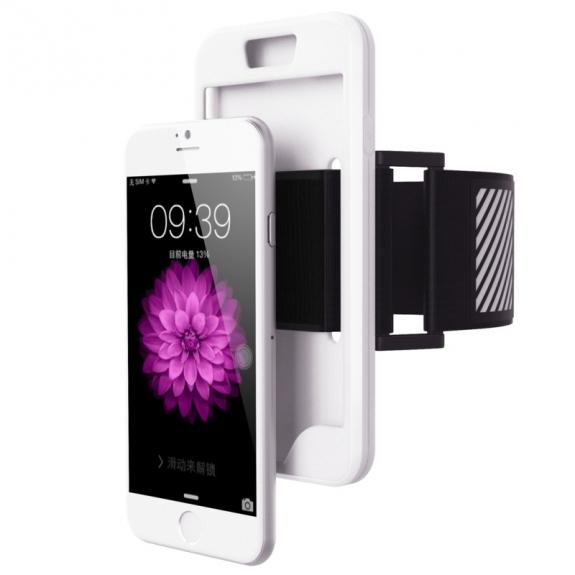 AppleKing sportovní pouzdro na ruku 2v1 pro Apple iPhone 6 / 6S - bílé - možnost vrátit zboží ZDARMA do 30ti dní