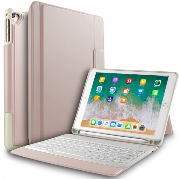 """AppleKing pouzdro s klávesnicí pro iPad 9.7"""" (2017/2018) / Air 1/2 / Pro 9.7"""" a schránkou na Pencil - růžovozlatá - možnost vrátit zboží ZDARMA do 30ti dní"""