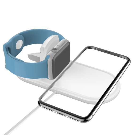 AppleKing nabíjecí podložka pro iPhone a Watch - bílá - možnost vrátit zboží ZDARMA do 30ti dní