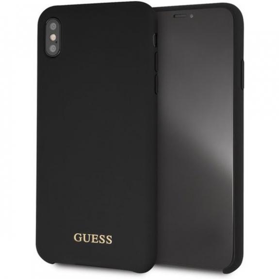 Guess Silicone Gold Logo case kryt pro iPhone XS Max - černý 3700740437292 - možnost vrátit zboží ZDARMA do 30ti dní