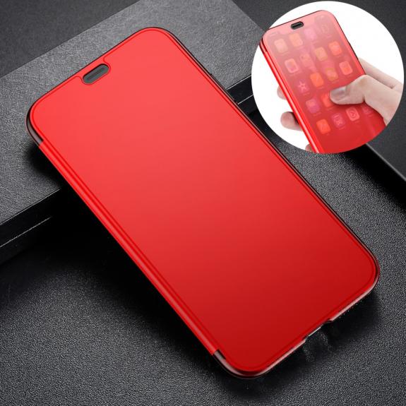 BASEUS flipové pouzdro pro iPhone XS - červená - možnost vrátit zboží ZDARMA do 30ti dní