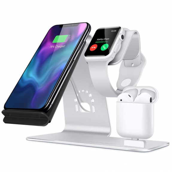 Bestand stojánek pro rychlé bezdrátové nabíjení iPhone / Watch / AirPods - stříbrný - možnost vrátit zboží ZDARMA do 30ti dní