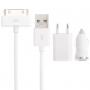 Nabíjecí sada 3v1 s 30pin konektorem pro iPhone 4 / 4S / iPad / iPod Touch - bílá