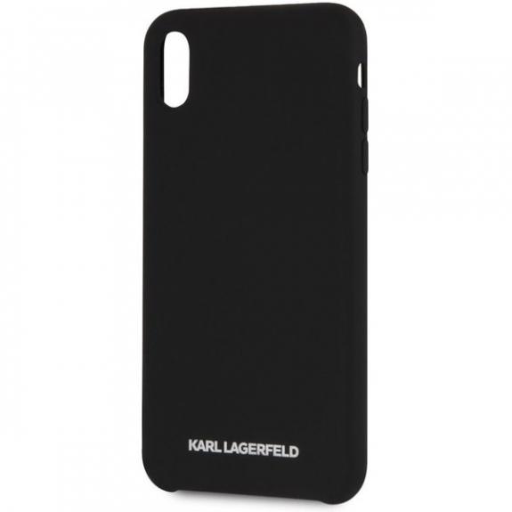 Karl Lagerfeld Silver Logo Silicone Case kryt pro iPhone XS Max - černý 3700740435465 - možnost vrátit zboží ZDARMA do 30ti dní