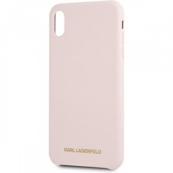 Karl Lagerfeld Gold Logo Silicone Case kryt pro iPhone XS Max - starorůžový 3700740435519 - možnost vrátit zboží ZDARMA do 30ti dní