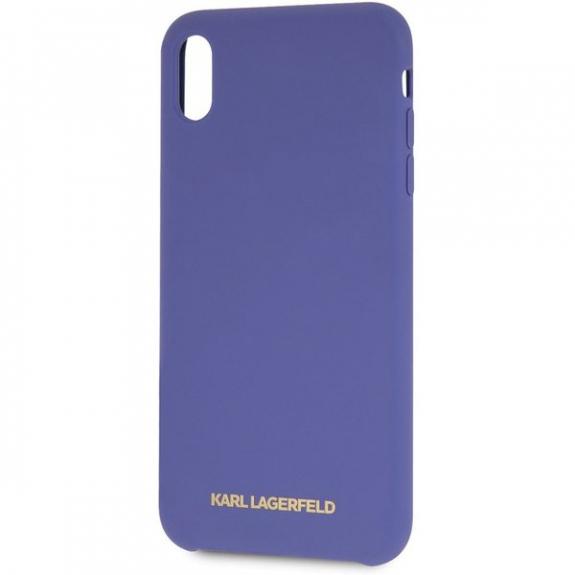 Karl Lagerfeld Gold Logo Silicone Case kryt pro iPhone XS Max - fialový 3700740435564 - možnost vrátit zboží ZDARMA do 30ti dní