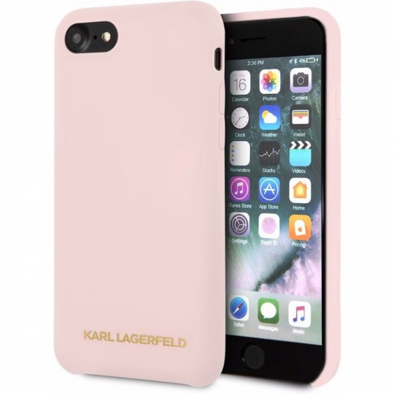 Karl Lagerfeld Gold Logo Silicone Case kryt pro iPhone 7   8 - starorůžová  3700740435472 - cb5ce51e5ce