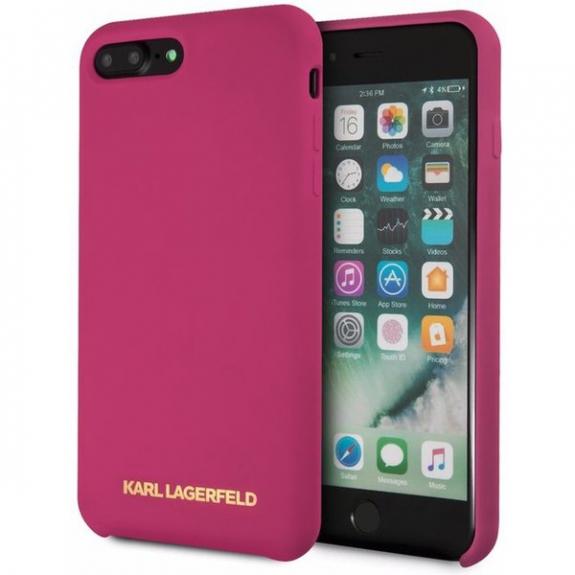Karl Lagerfeld Gold Logo Silicone Case kryt pro iPhone 7 Plus   8 Plus -  fuchsiová 71c23e57baf