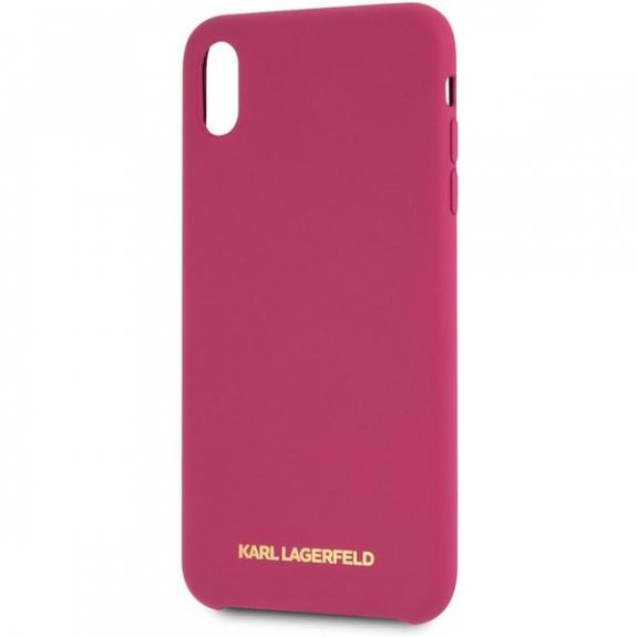 Karl Lagerfeld Gold Logo Silicone Case kryt pro iPhone XS Max - fuchsiový 3700740435618 - možnost vrátit zboží ZDARMA do 30ti dní