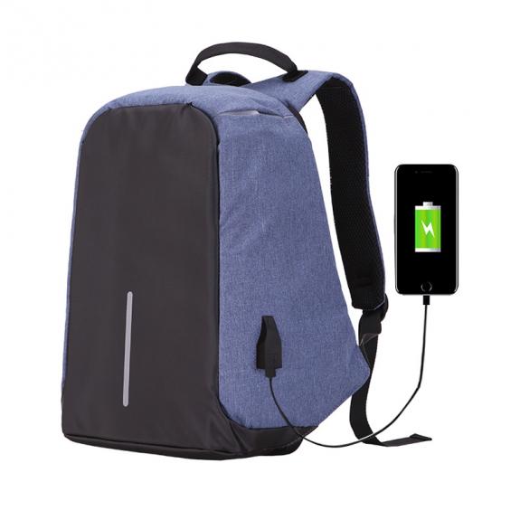AppleKing bezpečnostní batoh s externím USB portem - modrý - možnost vrátit zboží ZDARMA do 30ti dní
