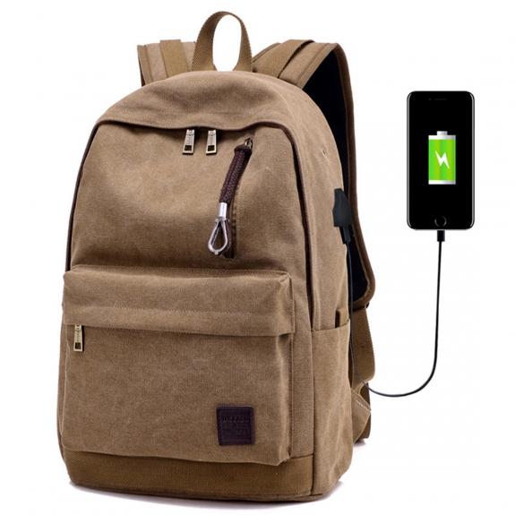 AppleKing cestovní batoh s externím USB portem - hnědý - možnost vrátit zboží ZDARMA do 30ti dní